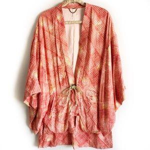 Free People Shibori Print Kimono Coral Orange Red